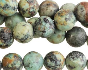 "Dakota Stones Matte African Turquoise 10mm Round Gemstones. 8"" Strand. ATQ10RD-M-8"