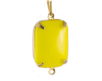 Vintage Opaque Yellow Glass Rectangle Drops 2 Loop Brass Setting 18X13mm (2) squ004S2