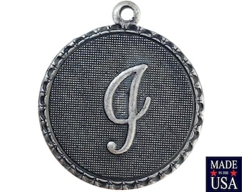 Sterling Silver Ox Plated Letter i Initial Charm Drop with Loop (1) chr214I