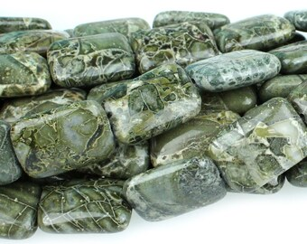 "Dakota Stones Green Brecciated Jasper 13x18 Rectangle Gemstones. 8"" Strand. GBJ13x18REC-8"
