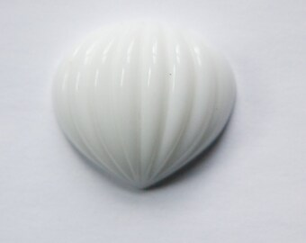 Vintage Large White Glass Ribbed Pointed Melon Cabochon cab048H