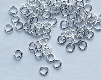 Silver Plated 4mm Open Jumprings 21 Gauge (100) fnd005