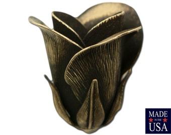 Brass Ox Plated 3D Tulip or Rosebud Bead Cap Finding LG (2) mtl063E