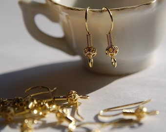 Raw Brass Fishhook Earwires with Filigree Bead Adornment (12) fnd010M