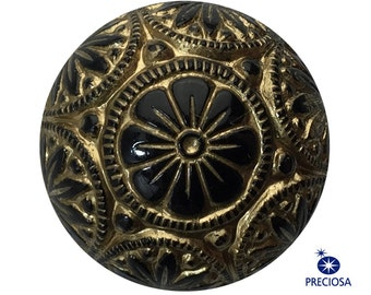 Preciosa Black Mosaic Glass Cabochons with Gold 18mm (2) cab756D