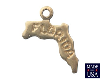 Raw Brass Tiny Florida State Charm Drops (2) chr202E