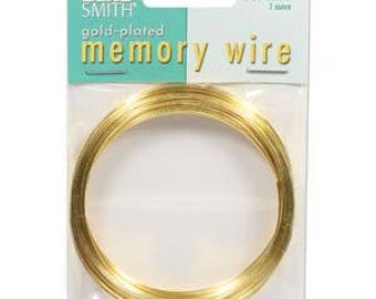 "Beadsmith Gold Plated Memory Wire 2 1/2"" Diameter, 1 Ounce"
