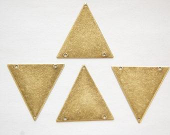 3 Hole Brass Ox Geometric Triangle Pendant Charm (6) mtl368E