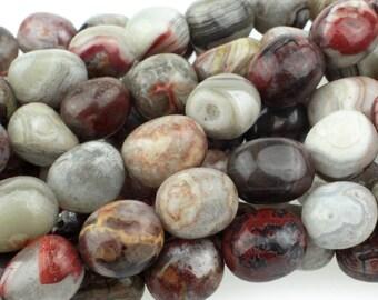 "Dakota Stones Mexican Lace Laguna Agate 8X10mm Nugget Gemstones. 8"" Strand. MLA8x10NUG-8"
