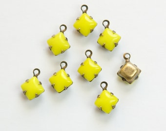 Opaque Yellow Square Glass Stones 1 Loop Brass Ox Setting 6mm squ014W