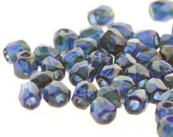 True 2 Czech Cobalt Travertine Faceted Fire Polished Glass Beads 2mm (200+/-)