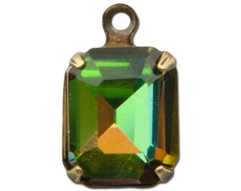 Faceted Vitrail Glass Stones in 1 Loop Brass Ox Setting 10x8mm (4) squ016HH