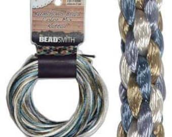 Kumihimo Rattail Color Mix Chino, 4 Braids x 3 Yards each, 2mm Diameter