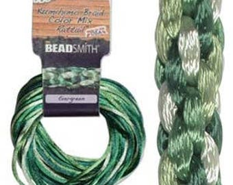 Kumihimo Rattail Color Mix Evergreen, 4 Braids x 3 Yards each, 1mm Diameter