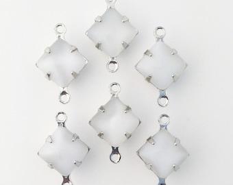 White Moonstone Square Glass Stones 2 Loop Silver Setting 8mm squ008VV2