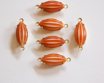 Vintage Rusty Brown and White Ribbed Glass Navettes 2 Loop Brass Setting nav001FF2