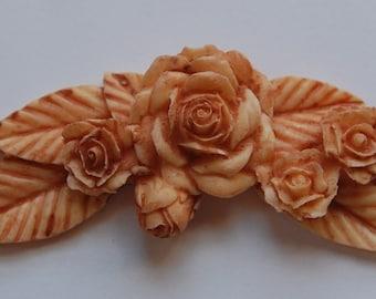 Large Brown Floral Cabochon Adornment cab677Q