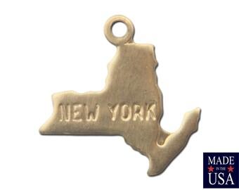 Raw Brass Tiny New York State Charm Drops (2) chr202C
