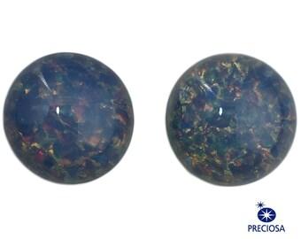 Preciosa Blue Foil Opal Round Cabochon 13mm (2) cab3006C