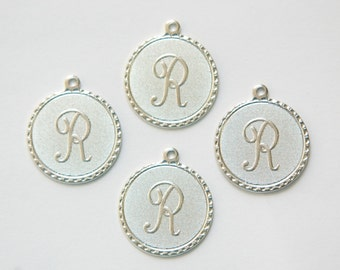 Matte Silver Plated Letter R Initial Charm Drop with Loop (4) chr196R