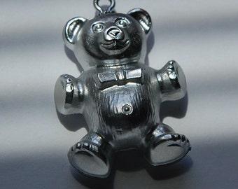 Vintage Silver Acrylic Teddy Bear Charm chr014E