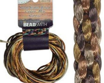 Kumihimo Rattail Color Mix Wheatberry, 4 Braids x 3 Yards each, 2mm Diameter
