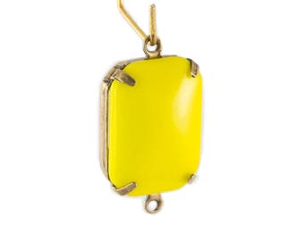 Vintage Opaque Yellow Glass Rectangle Drops 2 Loop Brass Ox Setting 18mmx13mm (2) squ0015S2