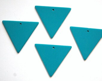 Vintage Bottom Hole Plastic Teal Blue Triangle Charm Pendant chr017A