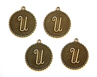 Brass Ox Letter U Initial Charm Drop with Loop (4) chr194U