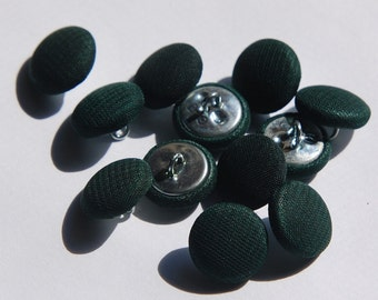 Vintage Dark Green Silk Buttons 13mm btn003D