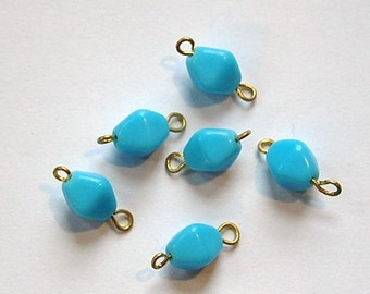 Vintage Blue Glass Bicone Connector Drops drp097A