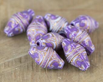 Vintage Style Lilac Purple Etched Gold Details Beads (8) bds575C