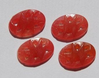 Vintage Pierced Carnelain Deco Glass Cabochons cab226