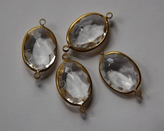 2 Loop Brass Channel Set Faceted Clear Acrylic Charms chr164D