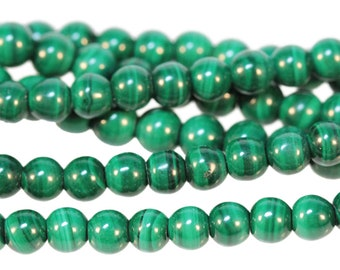 "Dakota Stones Malachite 4mm Round Beads Gemstones. 8"" Strand. MLT4RD-8"