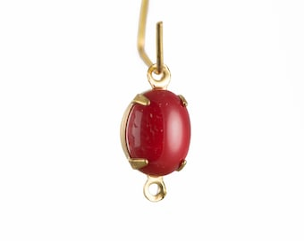 Vintage Opaque Red Oval Stones in 2 Loop Brass Setting ovl005F2