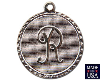 Silver Plated Letter R Initial Charm Drop with Loop (4) chr220R