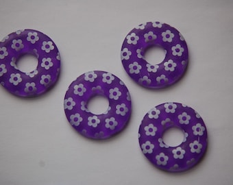 Vintage Purple Ring Lucite Beads with White Flowers bds722C