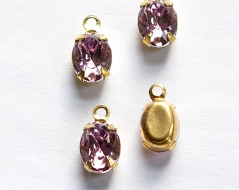 Vintage Light Amethyst Stones 1 Loop Brass Setting 8X6mm ovl012A