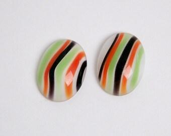 Vintage White with Green Orange Black Stripes  Glass Cabochons 18x13mm cab184