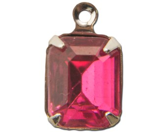 Faceted Dark Rose Glass Stone in 1 Loop Silver Setting 10x8mm (4) squ007KK
