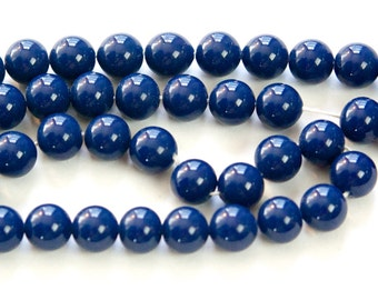 Vintage Opaque Navy Blue Glass Beads Japan 8mm (8) jpn003J