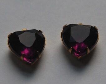 Amethyst Purple Glass Heart Pendants in 1 Loop Brass Setting 15mm hrt001F