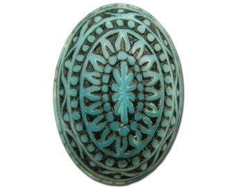 Vintage Etched Mosaic Turquoise Blue and Black Cabochons 18x13mm (6) cab714J