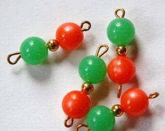 Vintage Orange Moonglow Green Beaded Drops Connector drp061