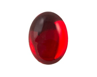 Transparent Ruby Foiled Glass Oval Cabochons 25x18mm (1) cab4006A
