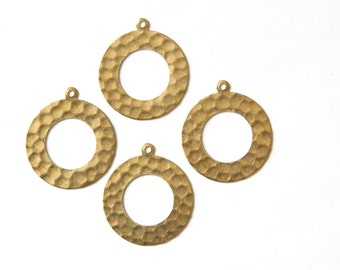 1 Hole Hammered Raw Brass Open Circle with Loop Pendant Drops (4) mtl412A