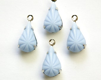 Vintage Etched Light Blue Glass Teardrop Stone 1 Loop Silver Setting par007AE