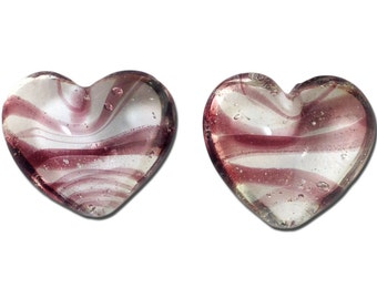 Transparent Light Purple Striped Glass Hearts  25x22mm (2) gyb012H