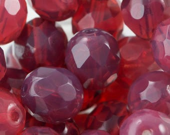 Czech Rose Opal Faceted Glass Beads 8mm (25) czh001Fv2
